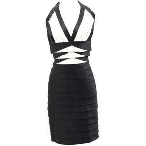 💜BCBG MAXAZRIA💜 12 BLACK WHITE IVORY TIER DRESS